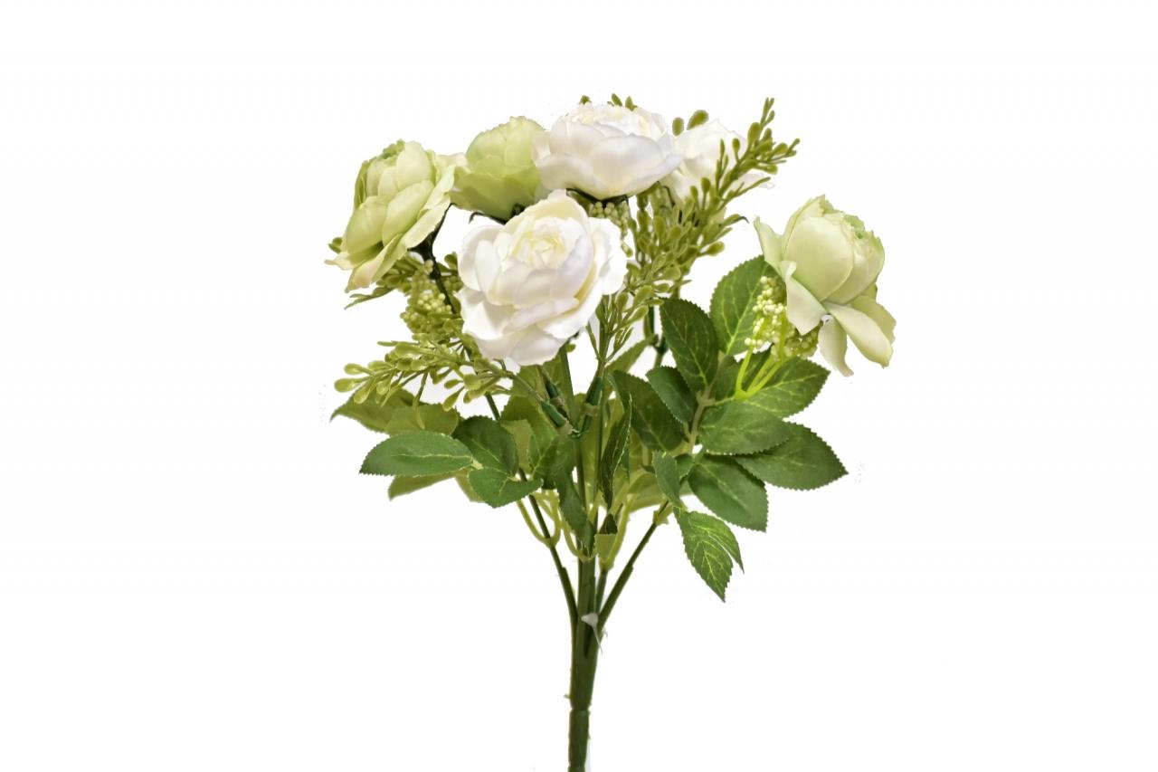Umělá kytička růží 25 cm, bílo-zelená