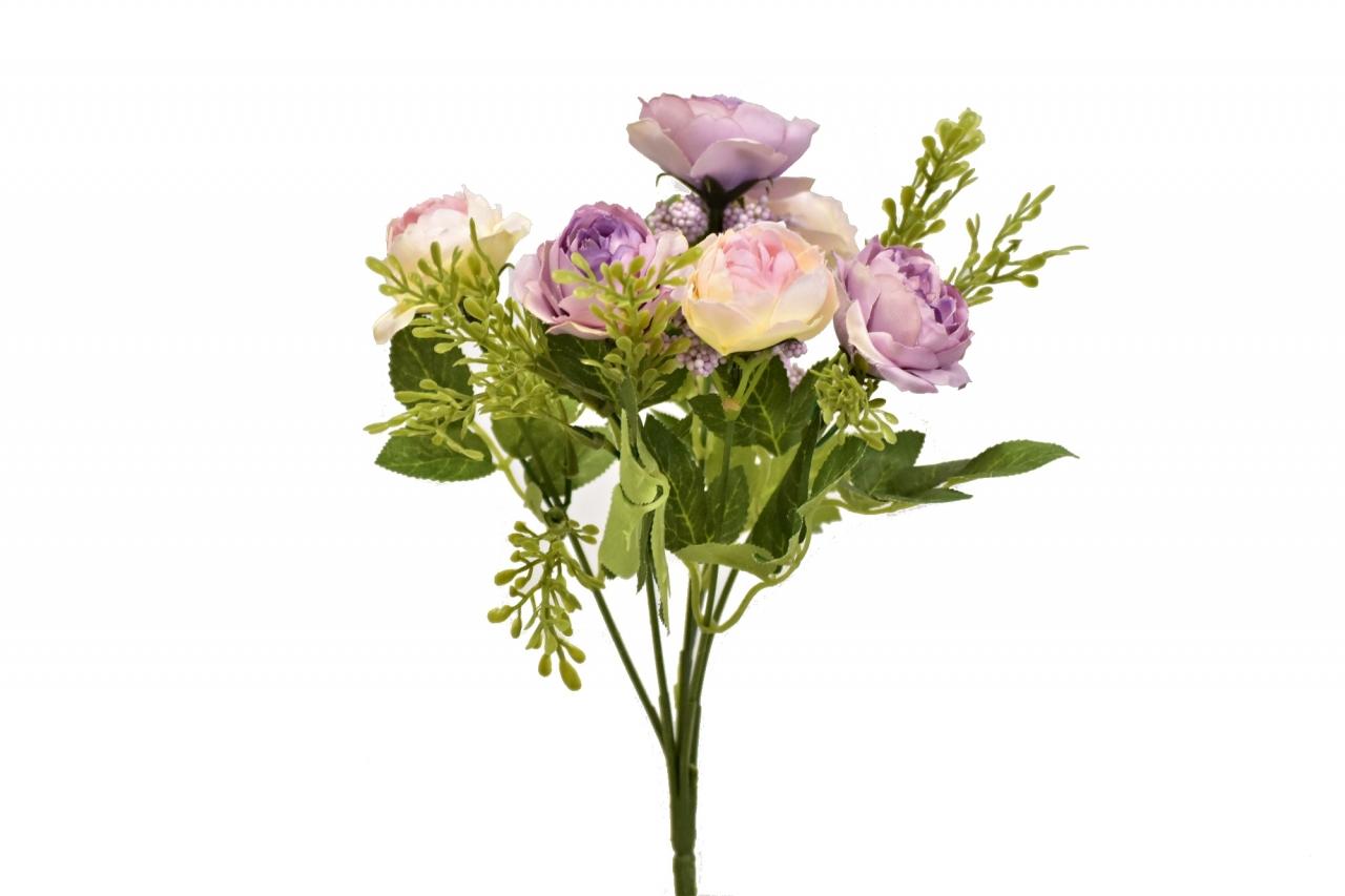 Umělá kytička růží 25 cm, fialovo-růžová