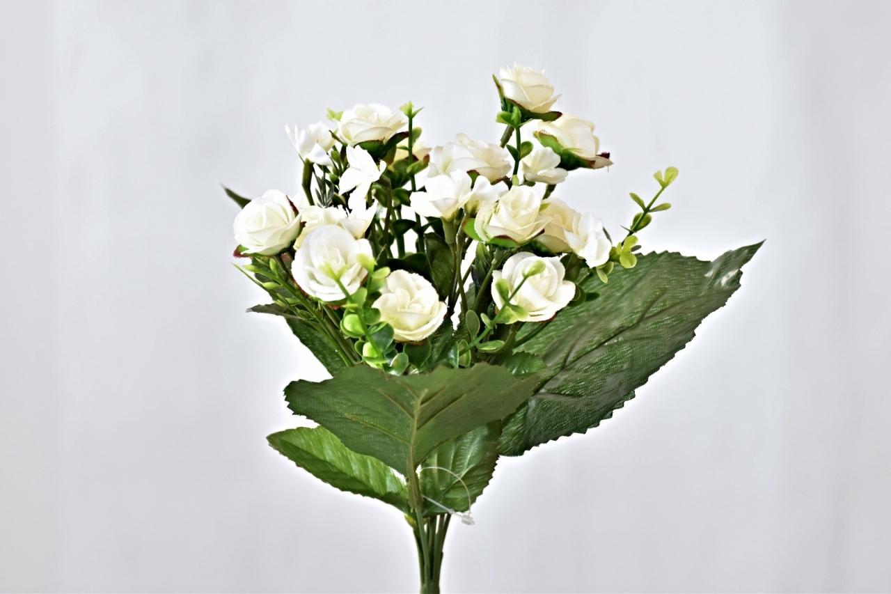 Kytička umělých růží 30 cm, bílá