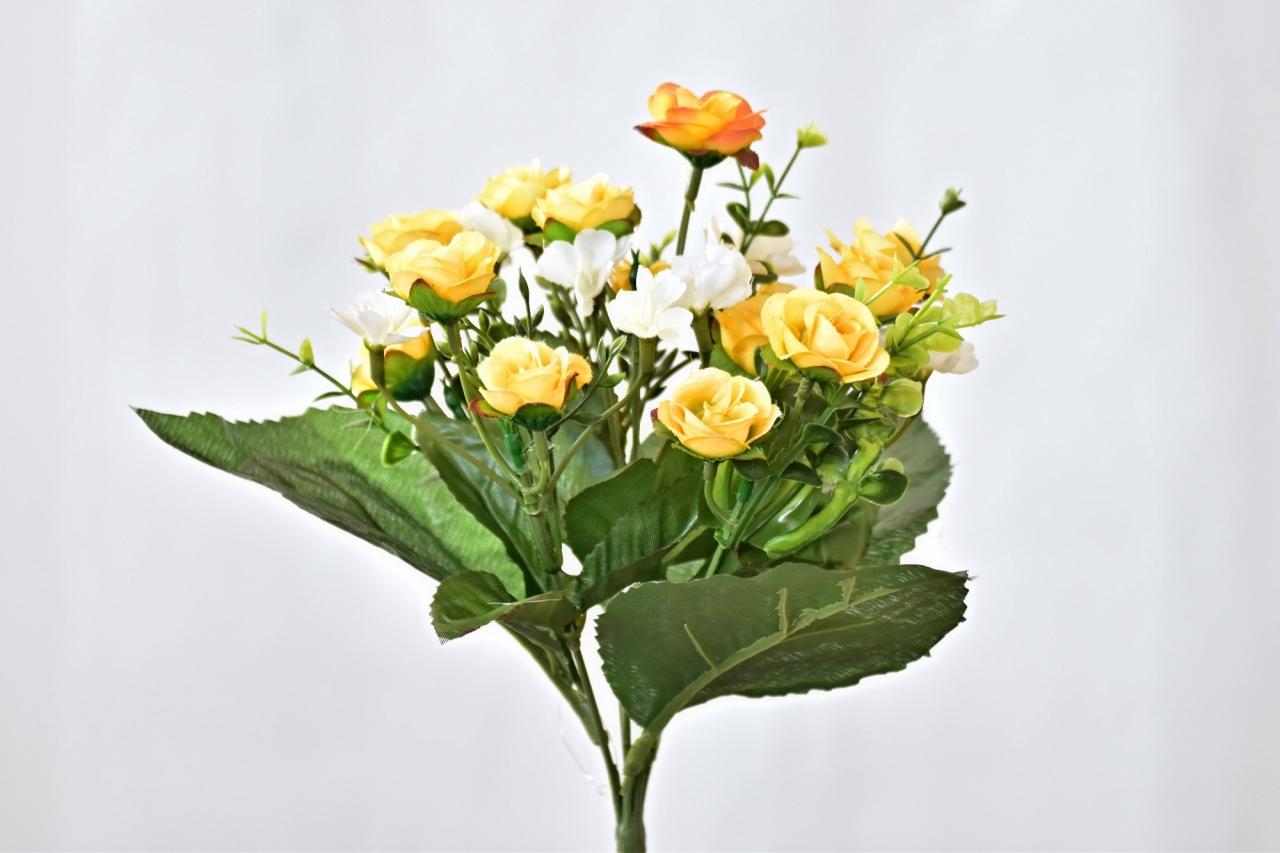Kytička umělých růží 30 cm, žlutá
