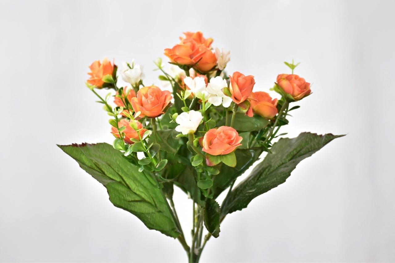 Kytička umělých růží 30 cm, oranžová