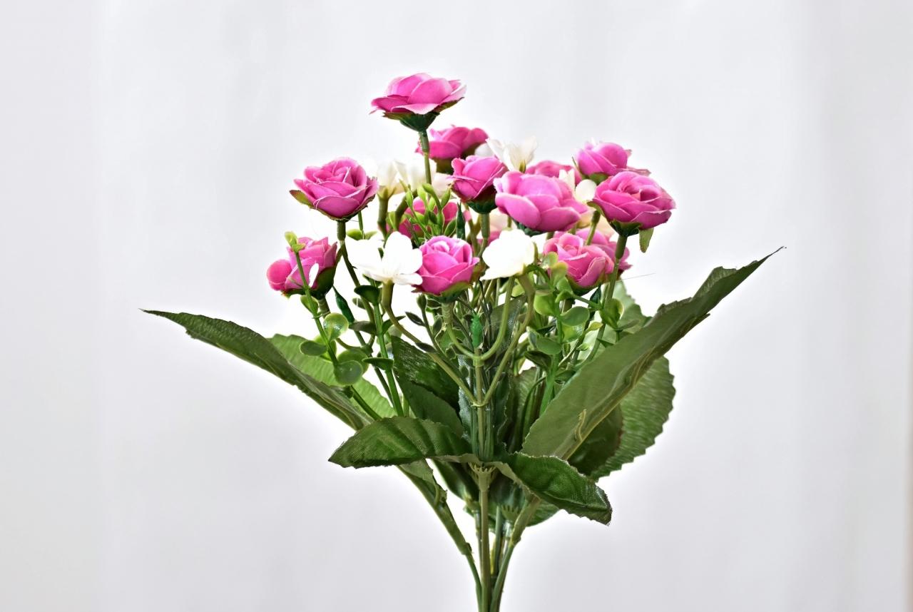 Kytička umělých růží 30 cm, růžová