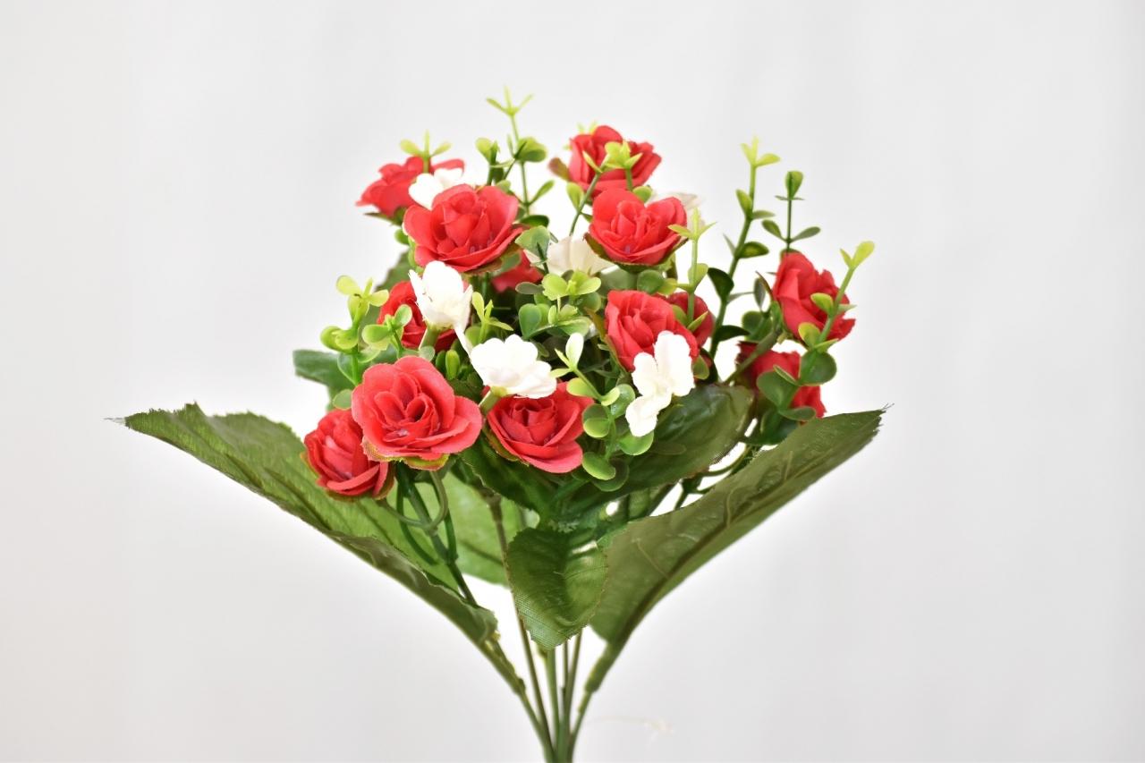 Kytička umělých růží 30 cm, červená