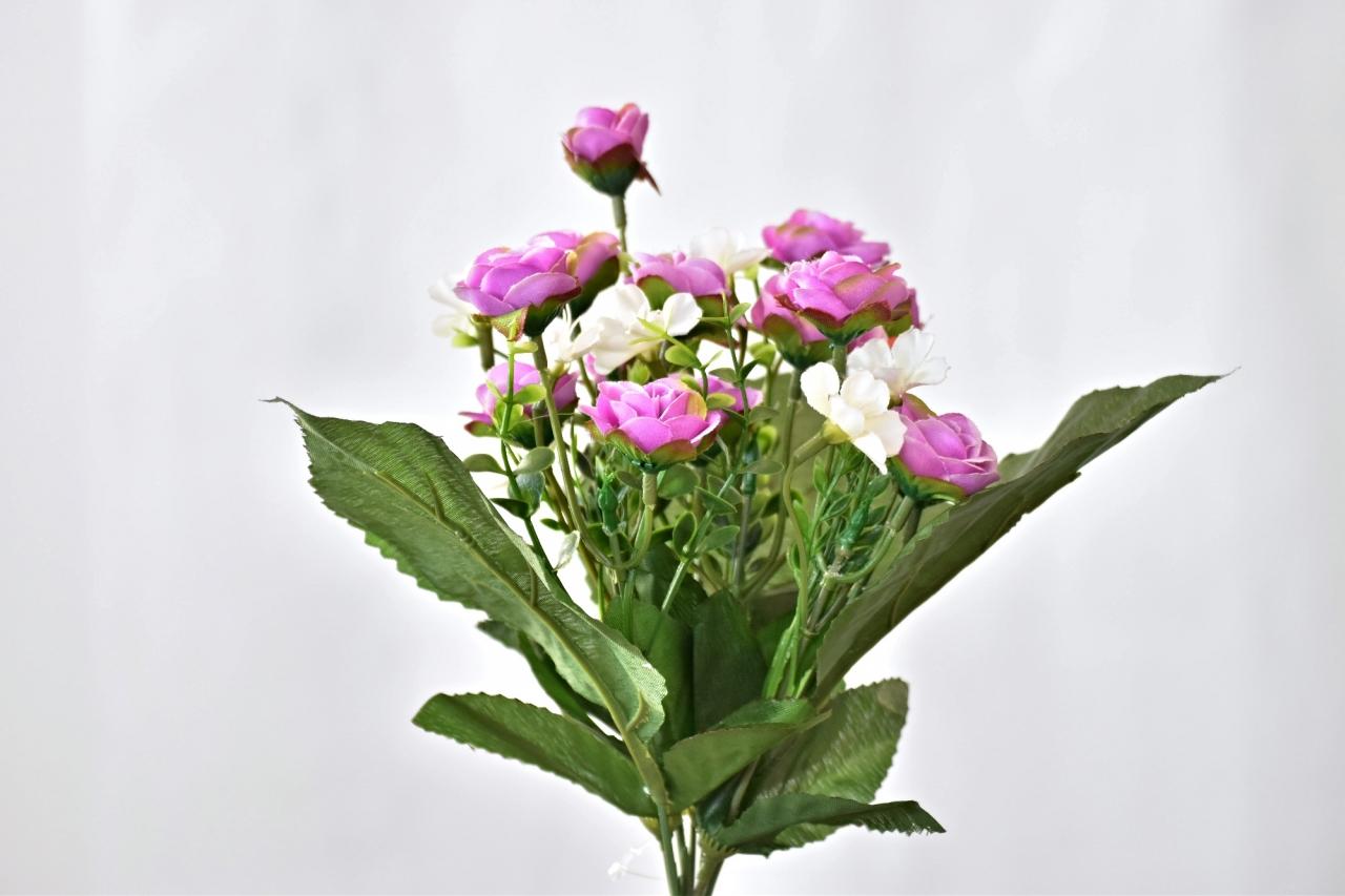 Kytička umělých růží 30 cm, fialová