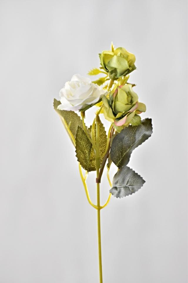 Umělá růžička 25 cm, bílo-zelená