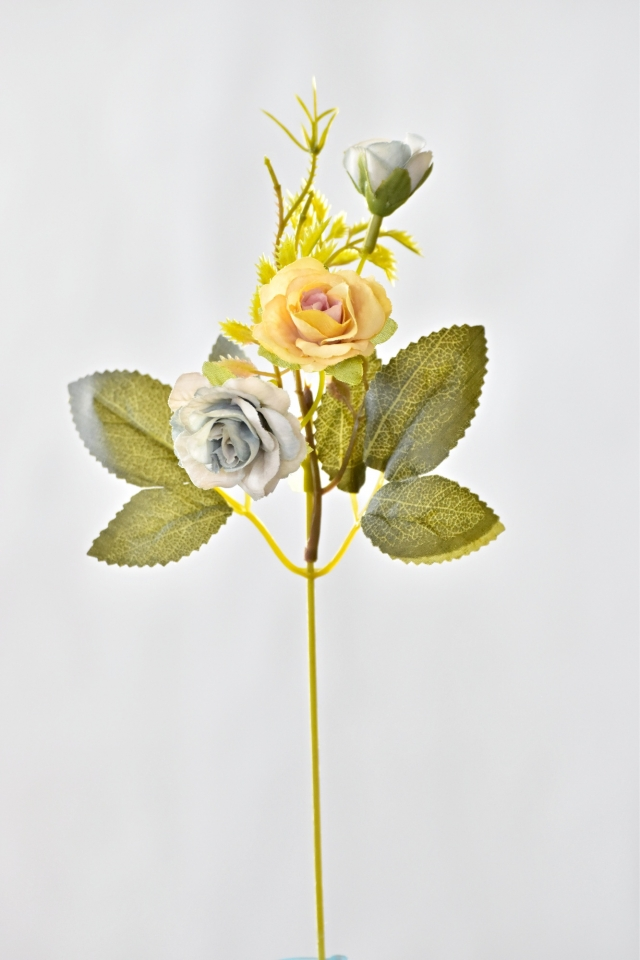 Umělá růžička 25 cm, žluto-modrá