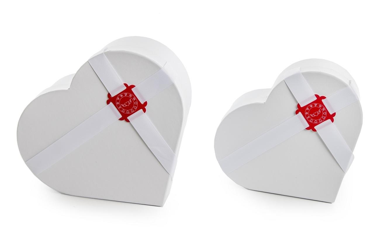 Flower box bílý - srdce, sada 2 ks