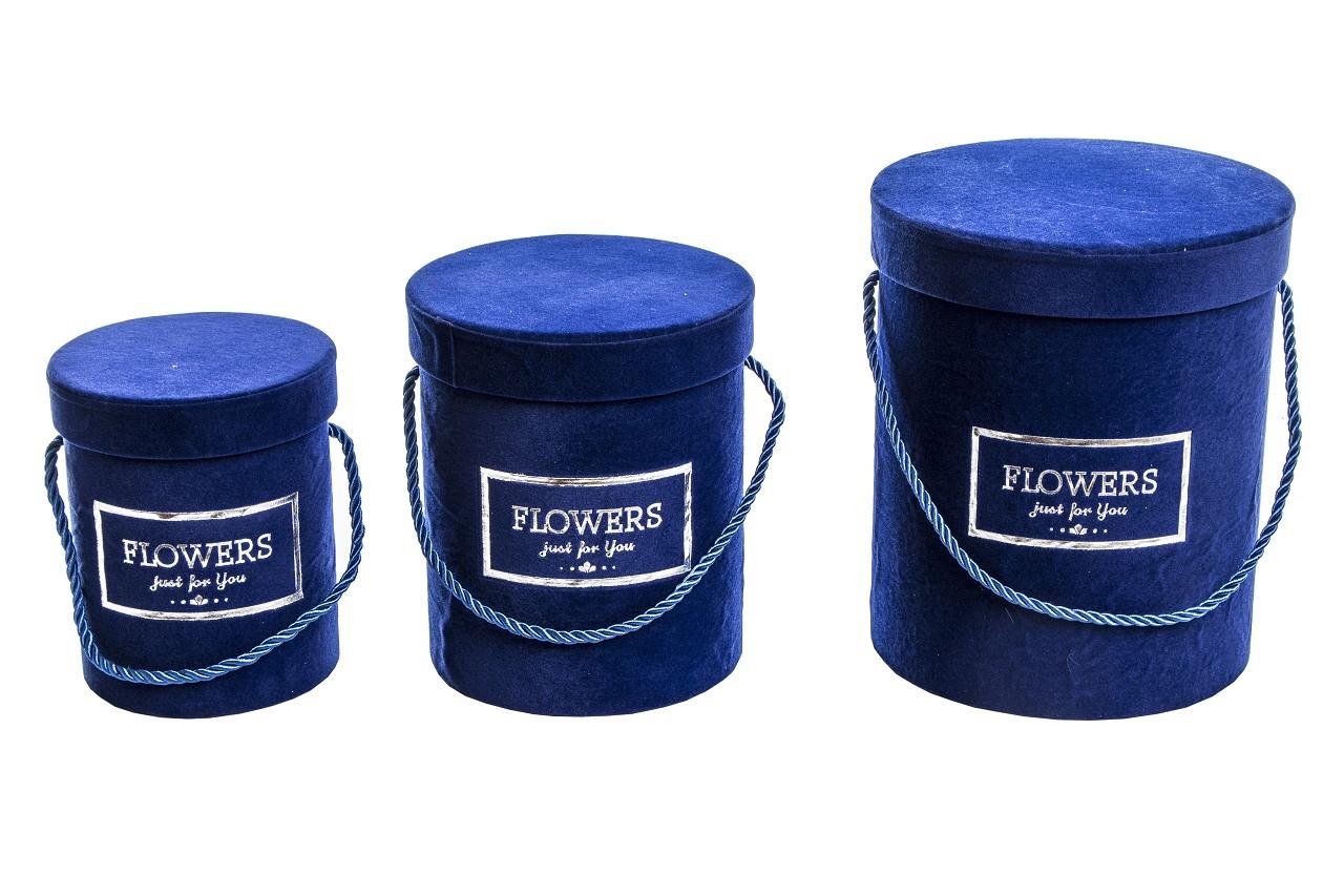 Flower box modrý sametový, sada 3 ks