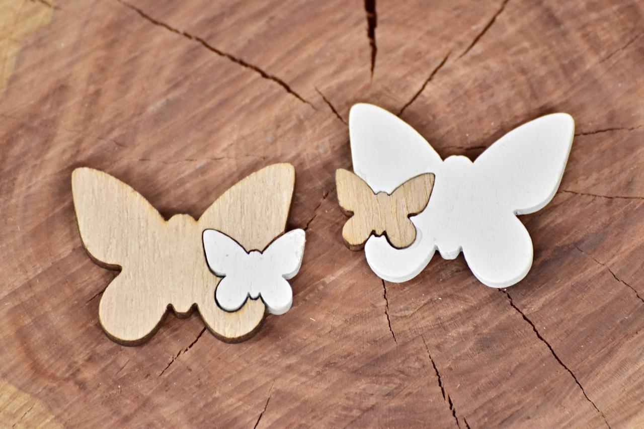Dřevěný motýlek s/12, mix barev