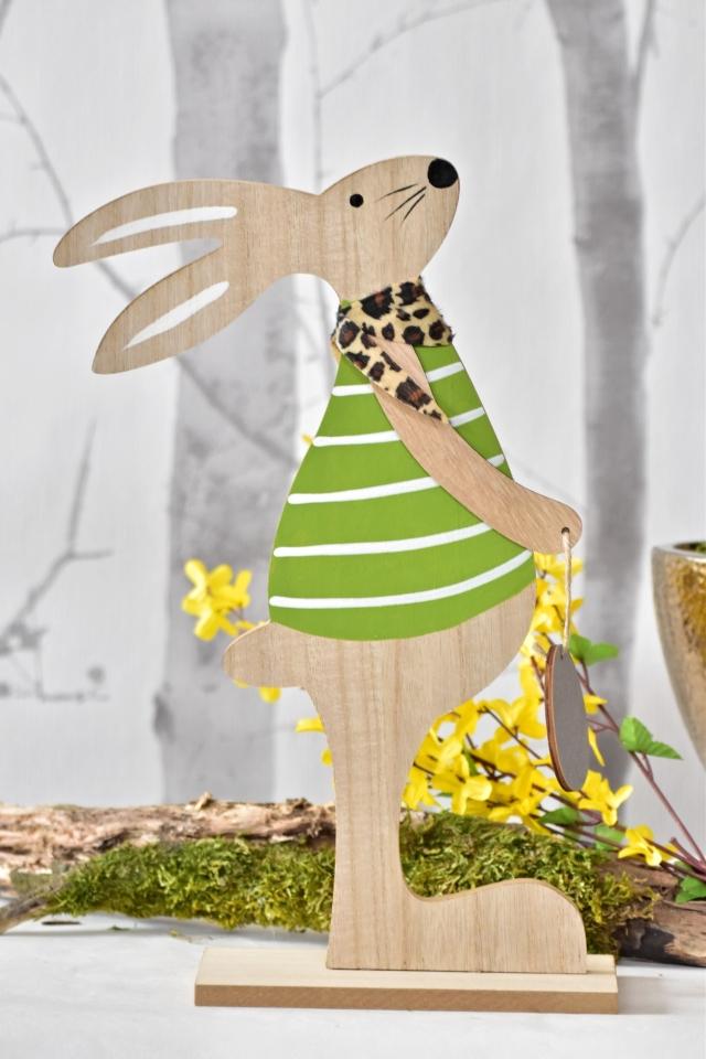 Dřevěný zajíc s vajíčkem 36,5 cm, zelený