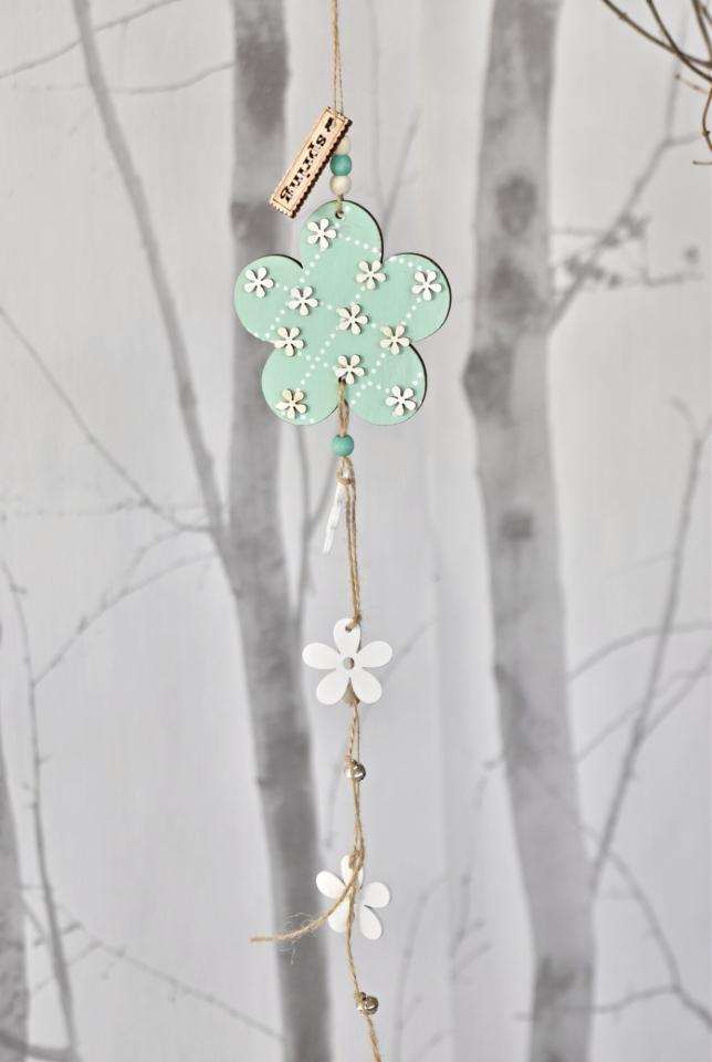Dřevěná květinka s/3, tyrkysová