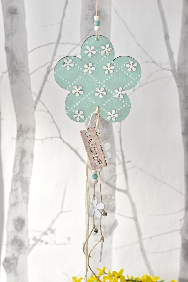 Dřevěná květinka s/2, tyrkysová