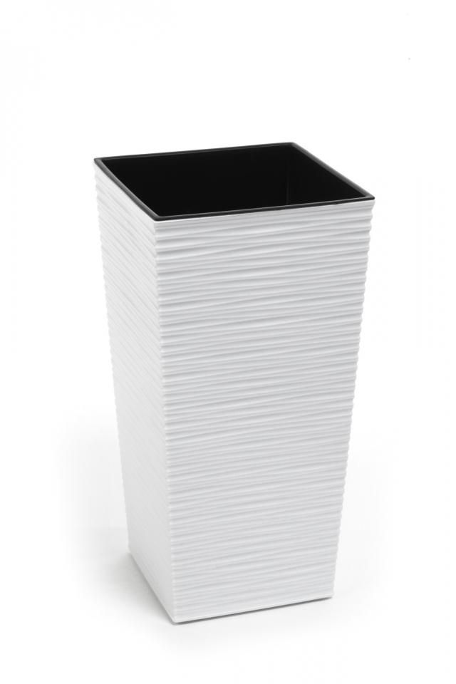 Plastový květináč Finezia vroubek 250x250 mm, bílý