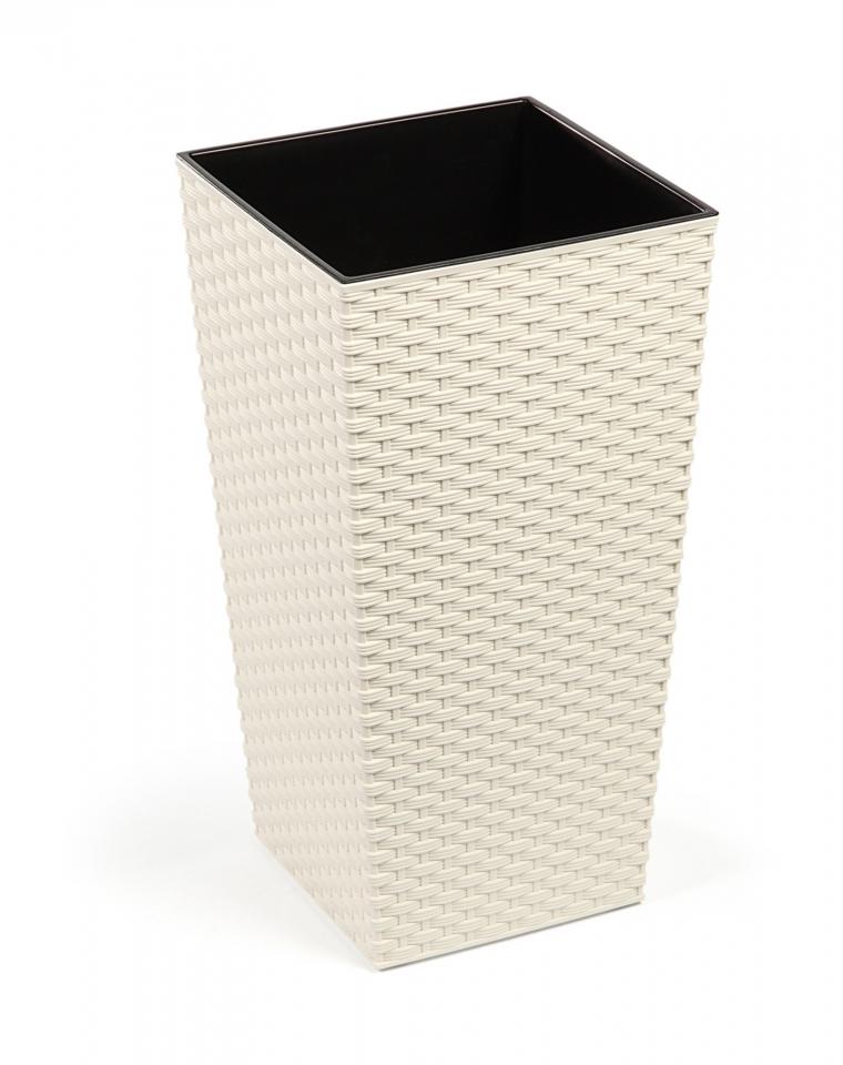 Plastový květináč Finezia ratan 250x250 mm, krémový