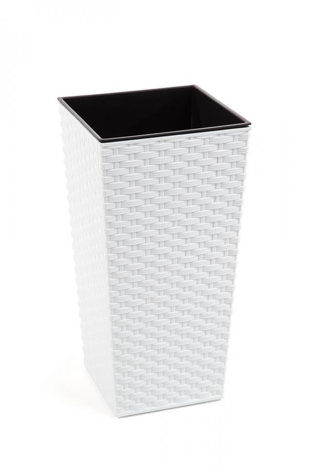 Plastový květináč Finezia ratan 190x190 mm, bílý