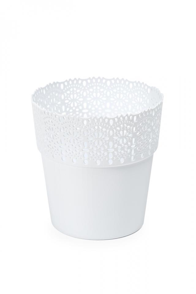 Plastový květináč krajka Bella 130 mm, bílý