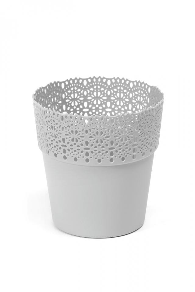 Plastový květináč krajka Bella 145 mm, světle šedý