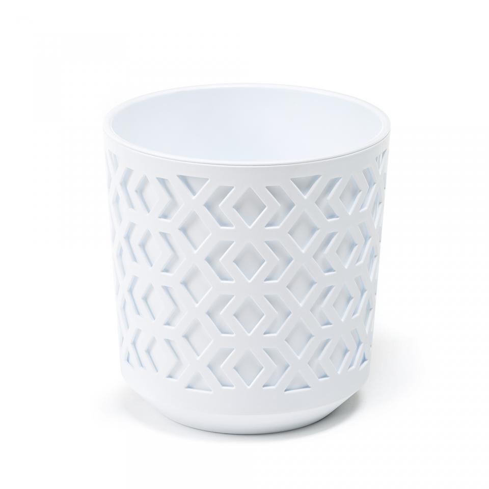 Plastový květináč Aztek 290 mm, bílý/bílý