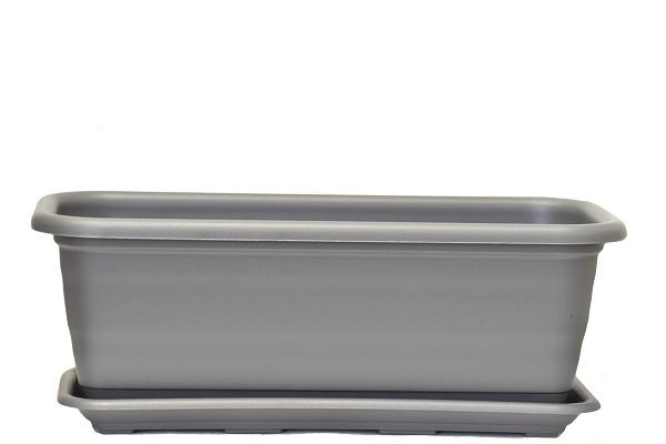 Plastový truhlík Natura s podmiskou, 500 mm, antracit