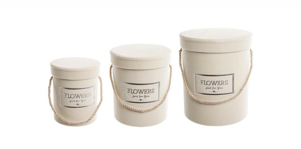 Flower box krémový sametový, sada 3 ks