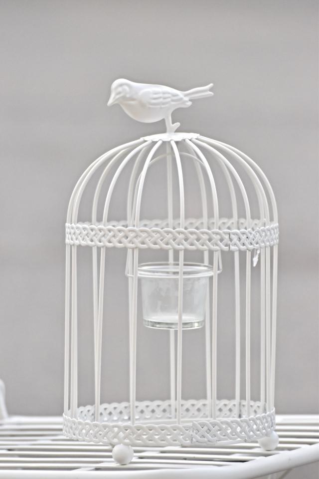 Kovový svícen ptačí klec, 28,5x16 cm