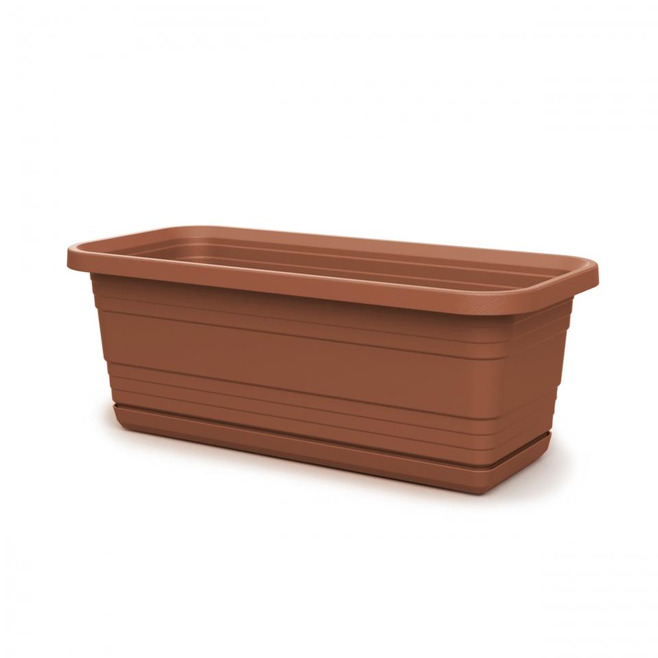 Plastový truhlík Bona s podmiskou, 400 mm, terracota