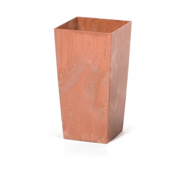 Květináč Urbi Square Effect 19,5x19,5 cm, terakota