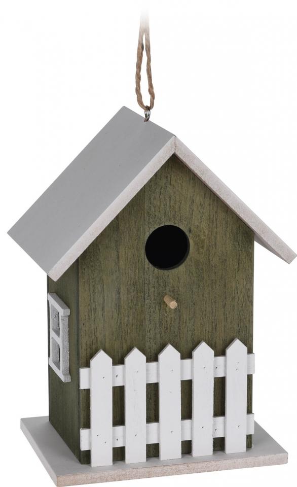 Dřevěná ptačí budka zelená