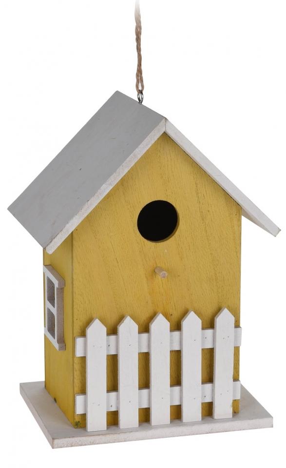 Dřevěná ptačí budka žlutá