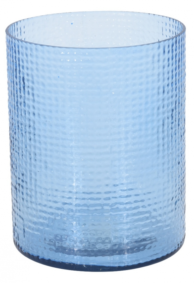 Skleněný svícen Hurricane světle modrý, 15x17,5 cm