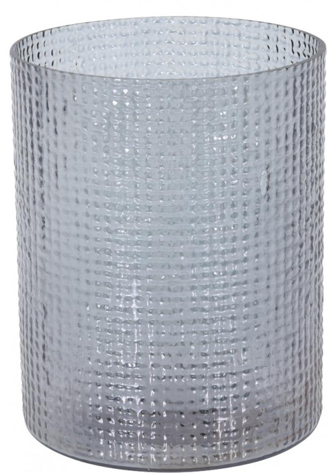 Skleněný svícen Hurricane šedý, 15x17,5 cm