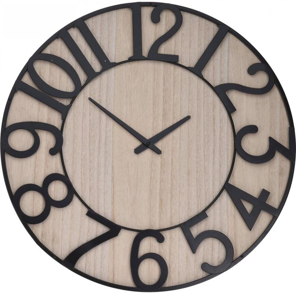 Dřevěné hodiny v kovovém rámu 57 cm
