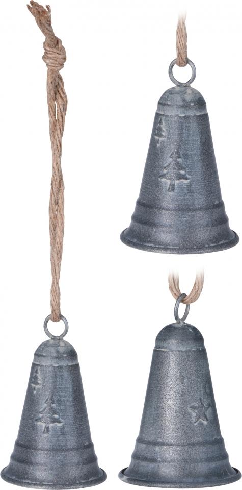 Kovový zvonek šedý 10x6 cm, mix druhů