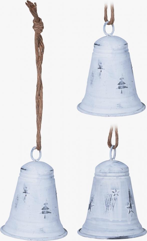 Kovový zvonek bílý 13x9 cm, mix druhů