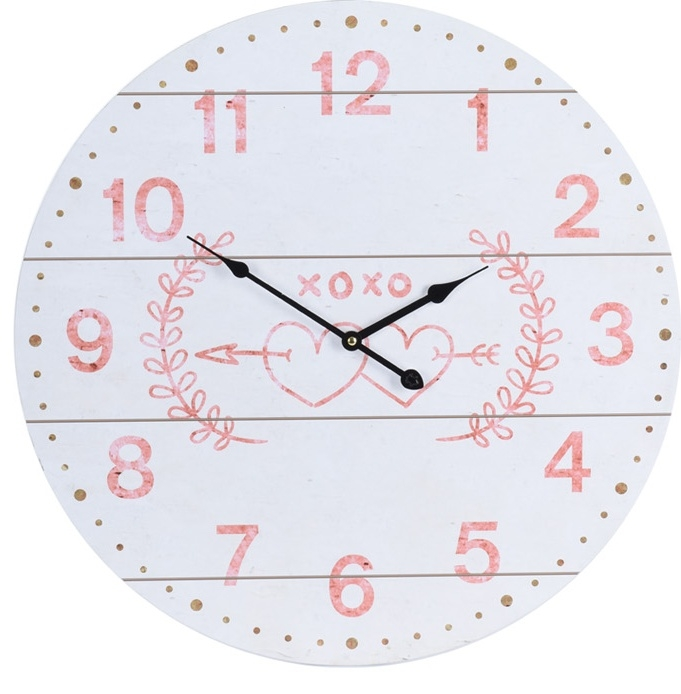 Nástěnné hodiny bílé se srdíčky, 55 cm