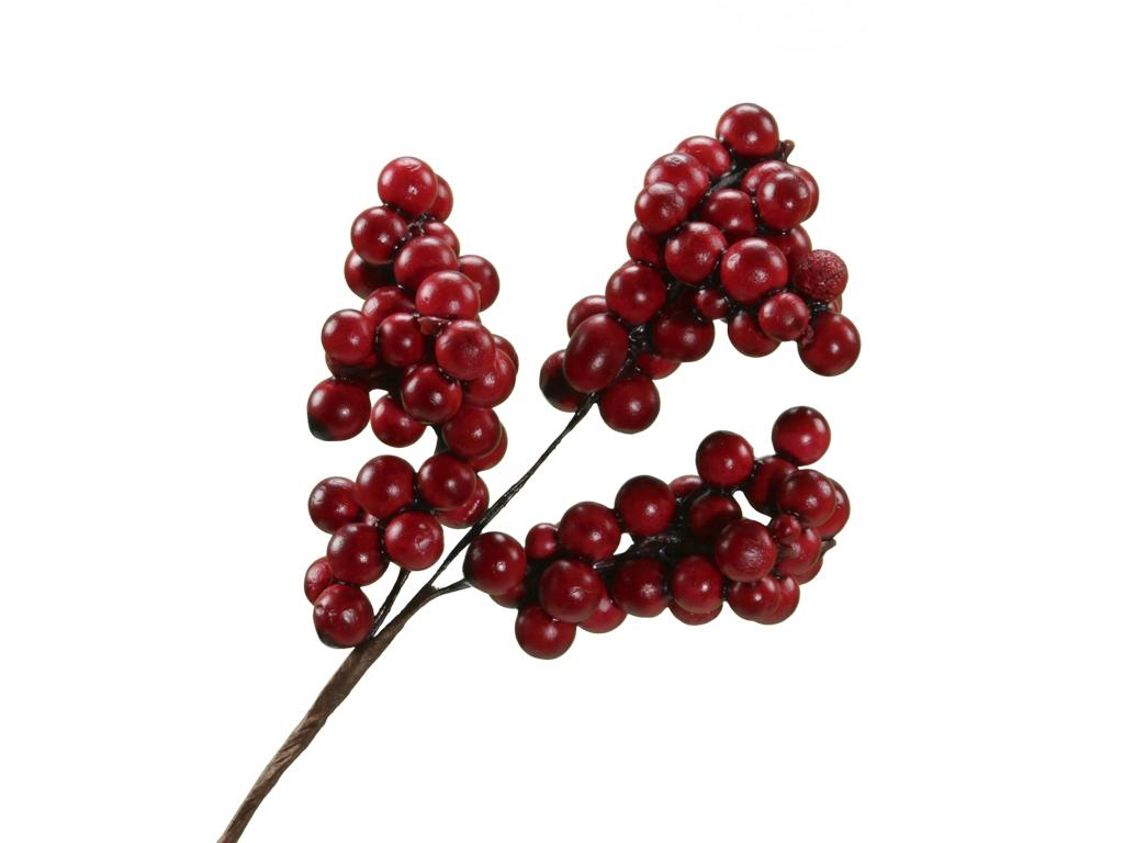 Větvička s červenými bobulkami s/12, 17 cm