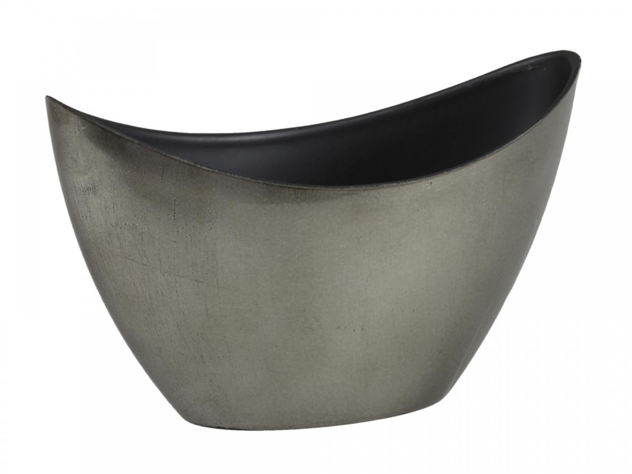 Žulový - šedý plastový květináč loďka 20x9x12 cm