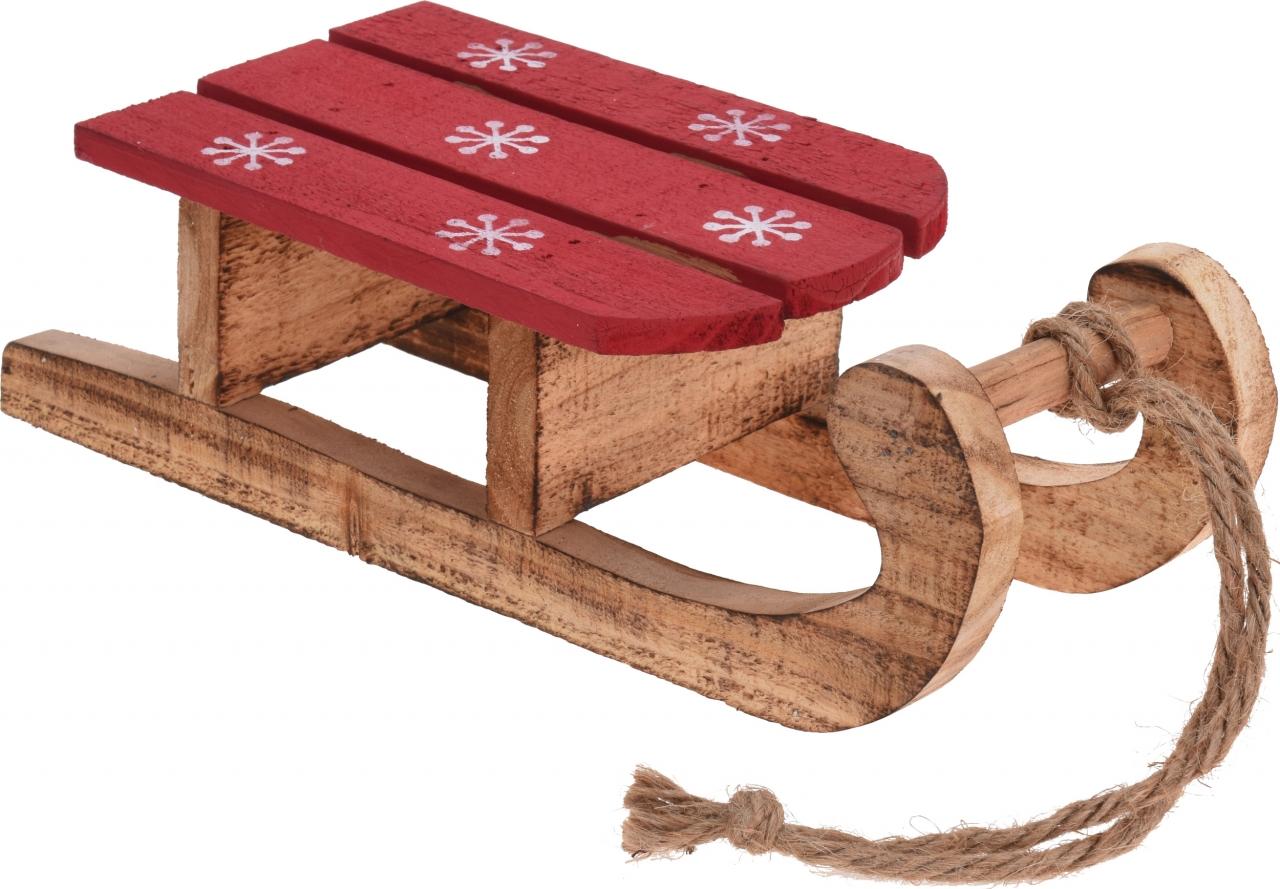 Dřevěná dekorace sáňky 30x14x10 cm, hnědé