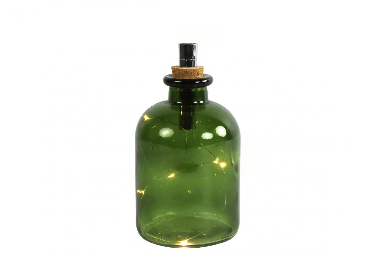 Zelená lahev Oleg s LED osvětlením a časovačem, 20x10,5 cm