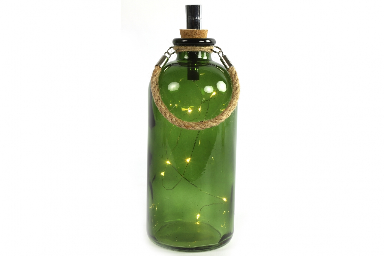 Zelená lahev Collin s LED osvětlením a časovačem, 25x11 cm