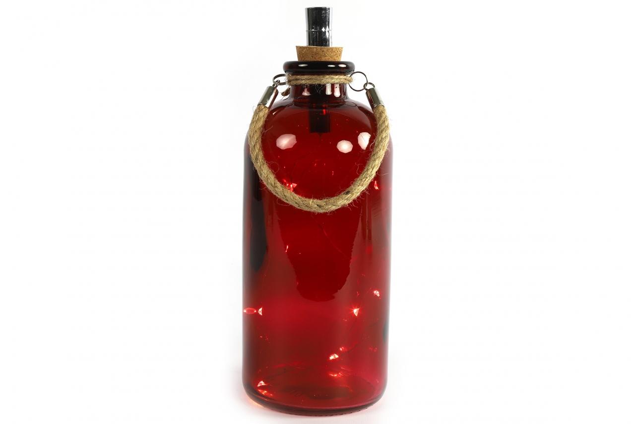 Červená lahev Collin s LED osvětlením a časovačem, 25x11 cm