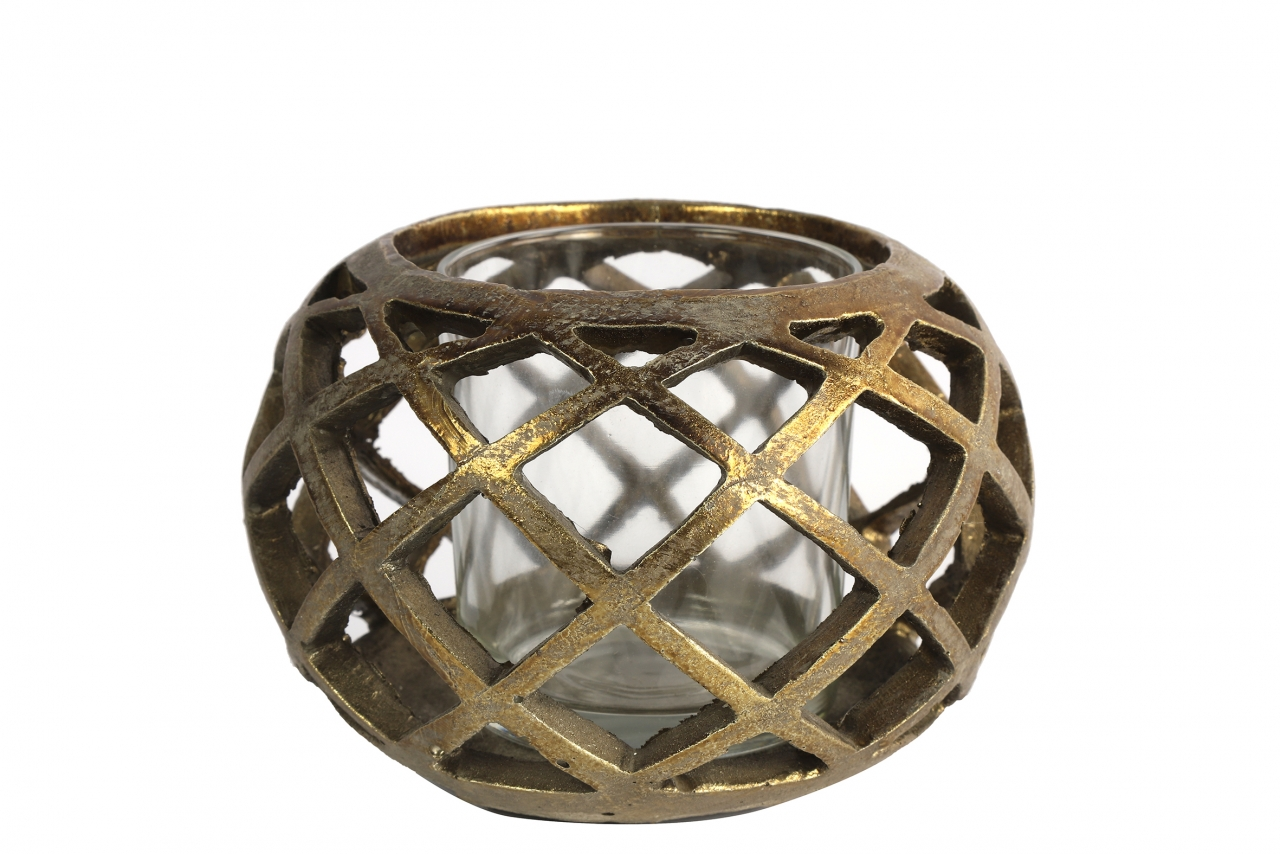 Keramický svícen Sancho zlatý, 10x14 cm