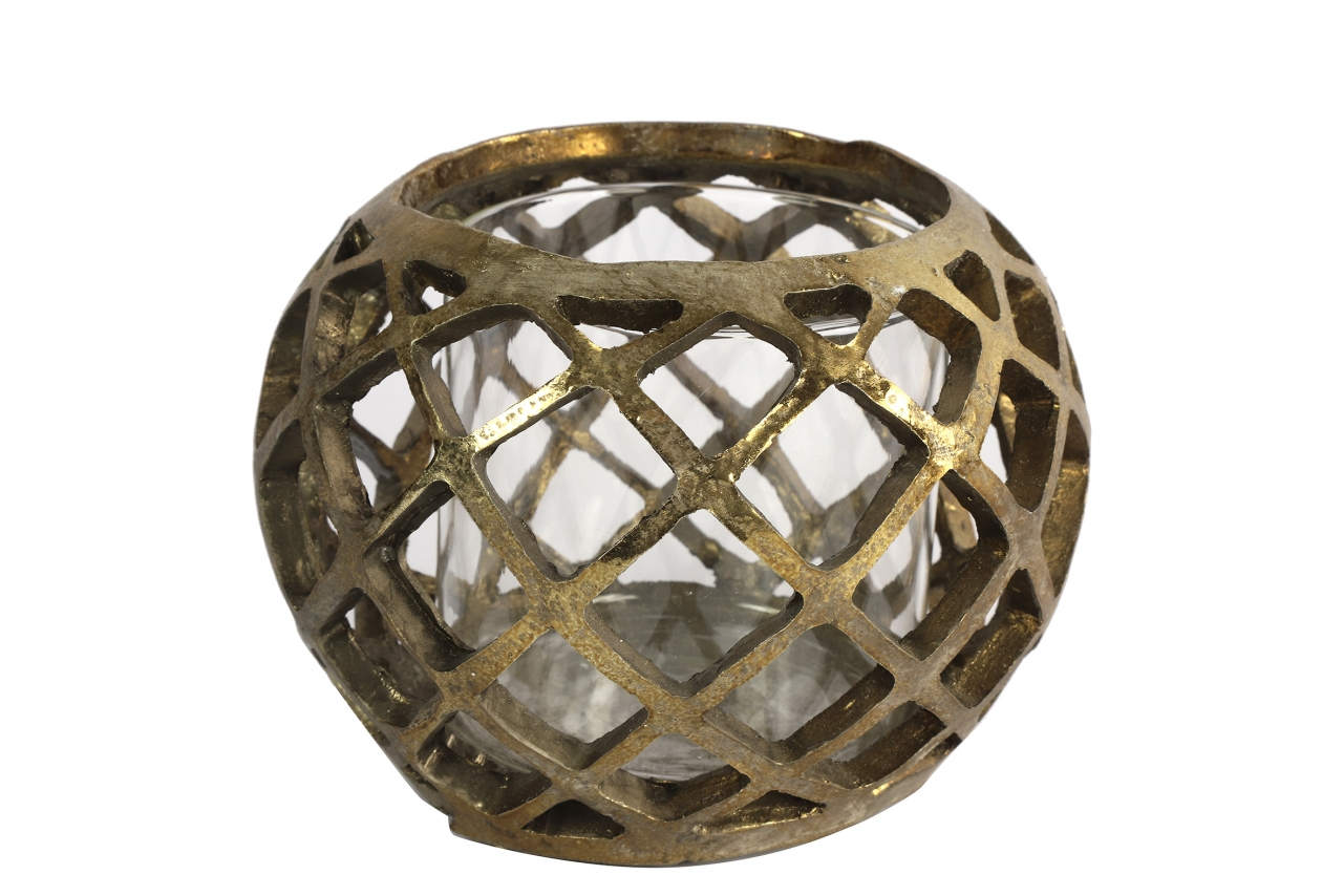 Keramický svícen Sancho zlatý, 13x17 cm