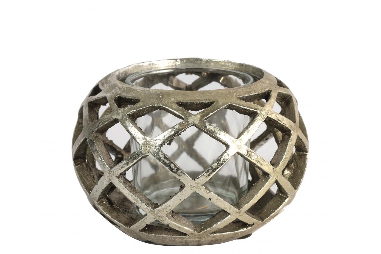 Keramický svícen Sancho stříbrný, 9,5x14 cm