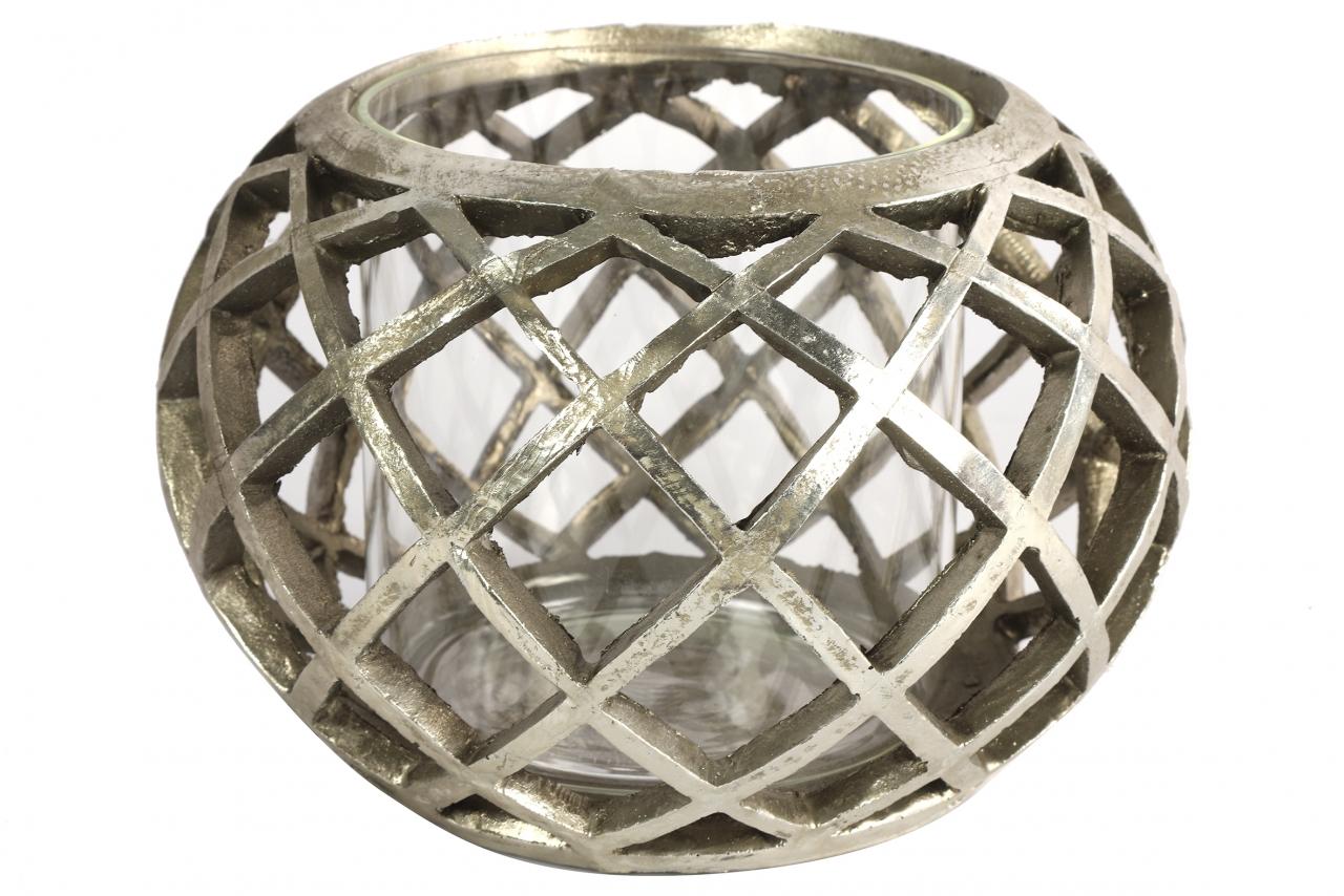 Keramický svícen Sancho stříbrný, 13,5x20,5 cm