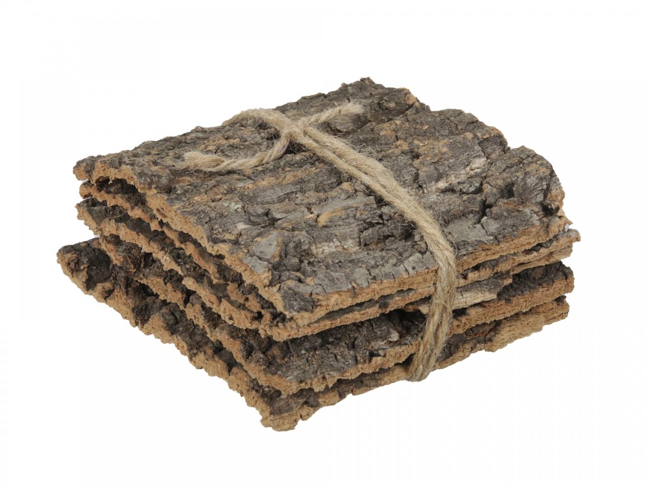 Přírodní podložka z kůry kaštanu s/5 ks, 15x15x10 cm