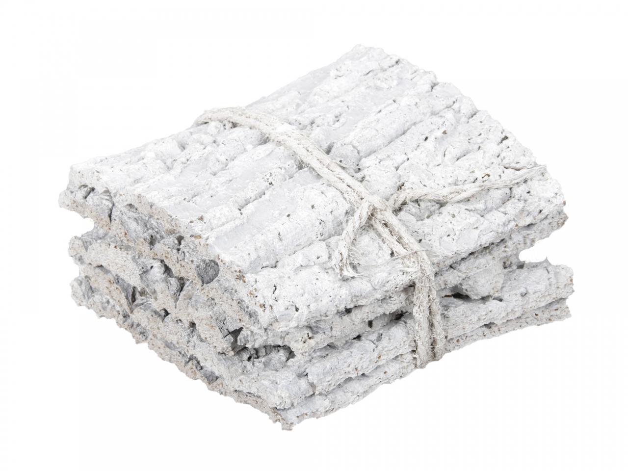 Přírodní podložka z kůry kaštanu s/5 ks, bílá, 15x15x10 cm