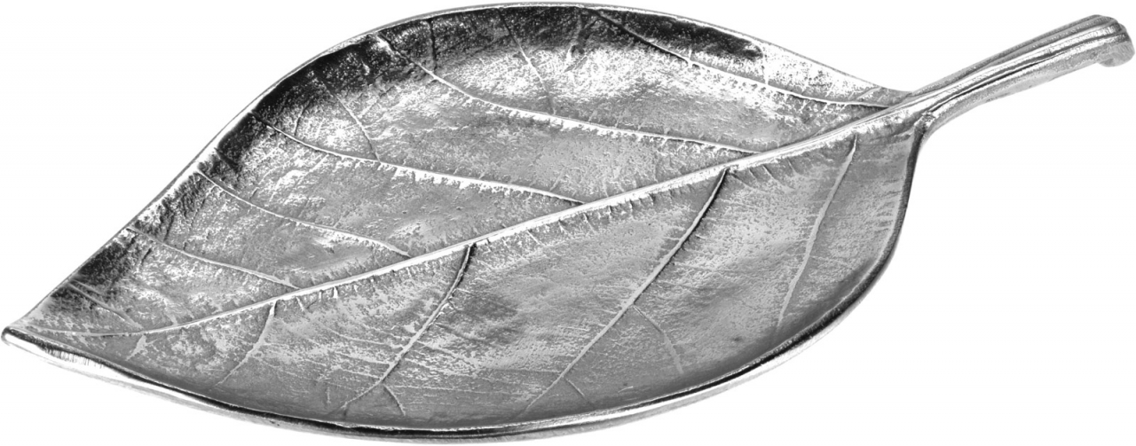 Dekorační tác list 30 cm, stříbrný