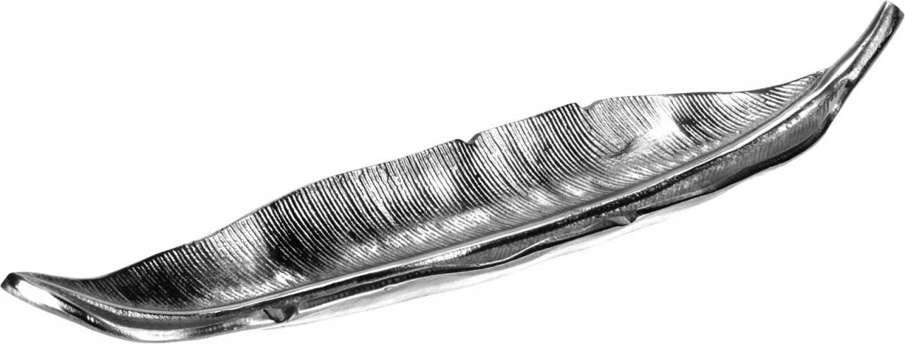 Dekorační tác list 49,5 cm, stříbrný