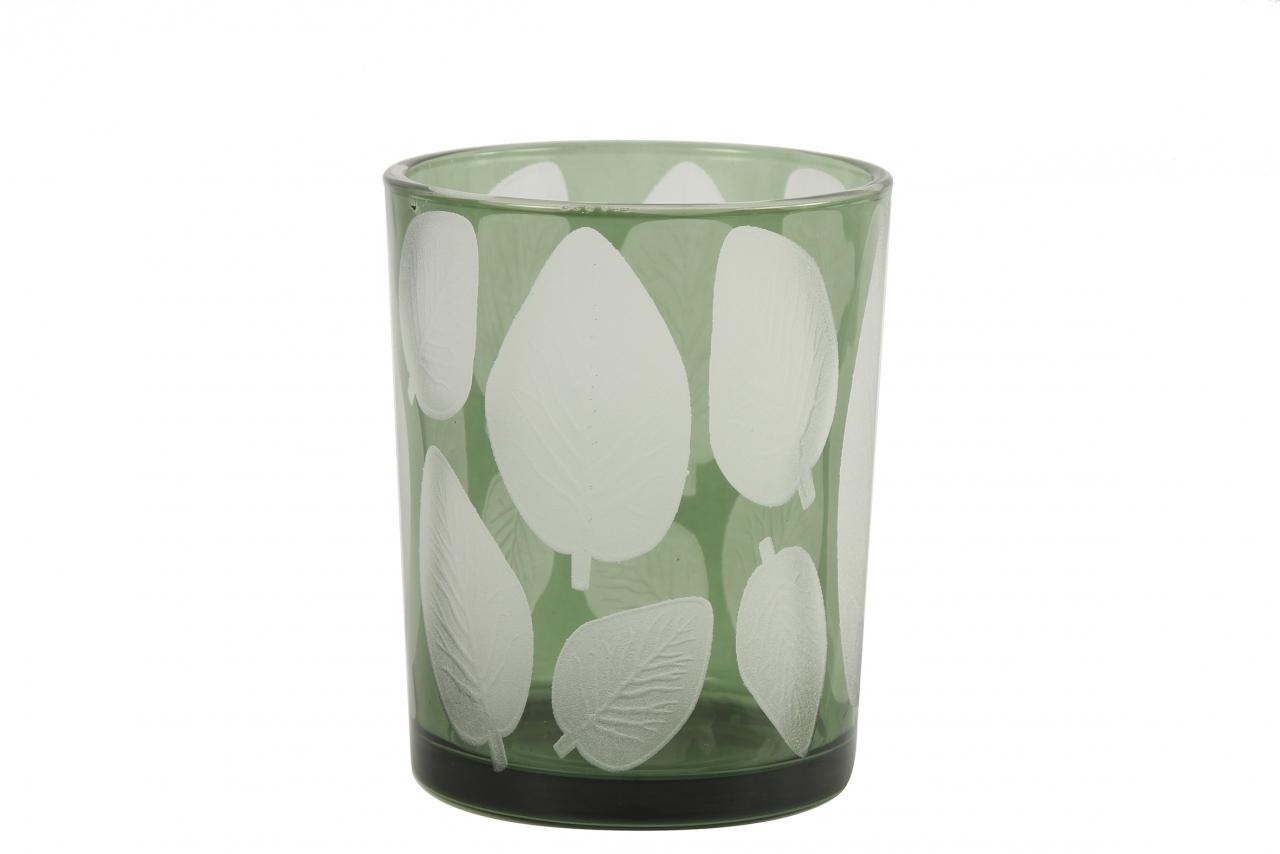 Skleněný svícen Zora, zelený s listem 12,5x10 cm